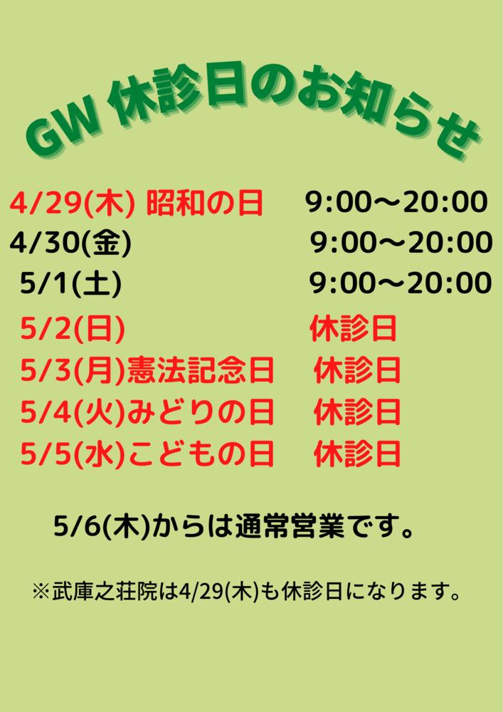 GWの休診日