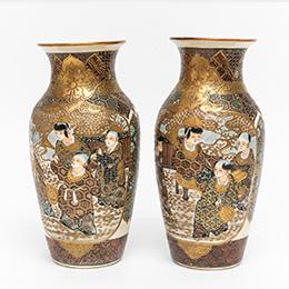 薩摩焼 花瓶 一対