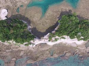 円月島を真上から 意外と浸食がすすみ、えぐられているんです。。