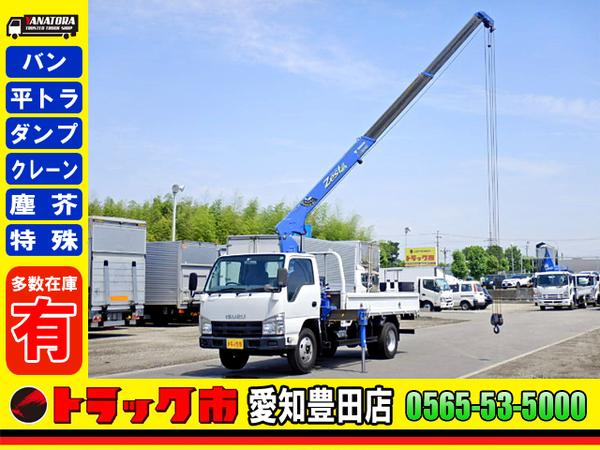 いすゞ エルフ 平ボディー 3段クレーン 3方開 フックイン ETC 2t AT!