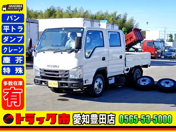 いすゞ エルフ 平ボディ Wキャブ 4WD キーレス ETC 2t 6人乗 5MT!